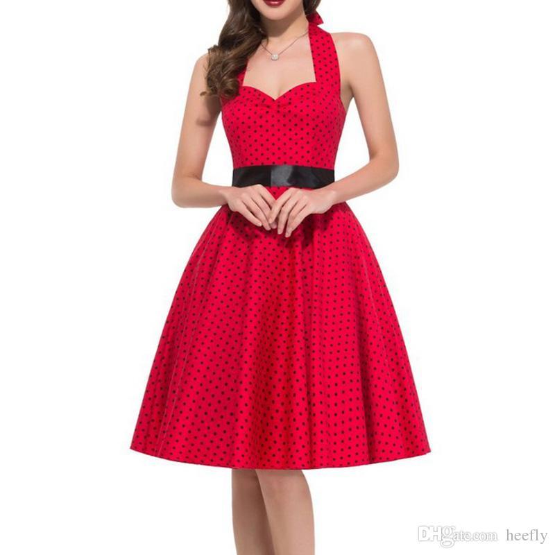 Grosshandel Frauen Sommer Polka Dot Vintage Kleid Mode Party Buro