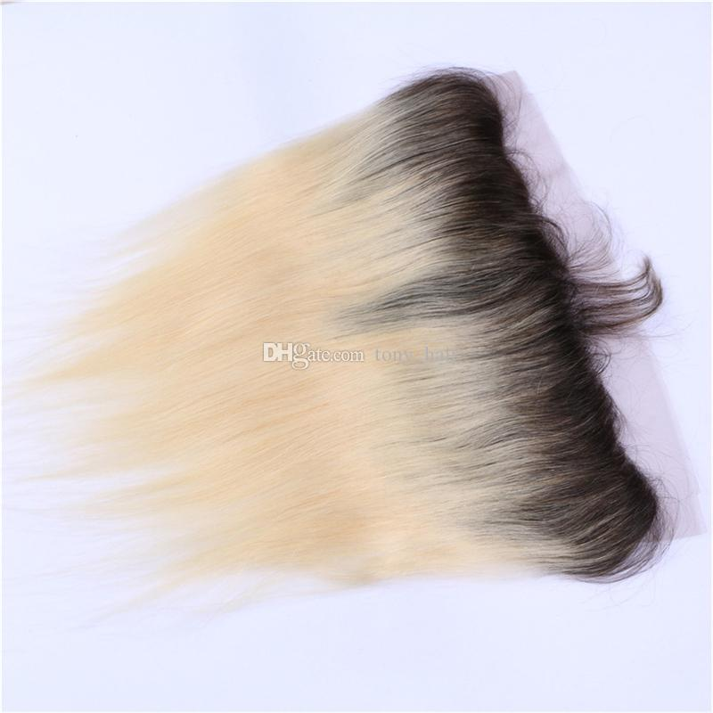 8A Straight 613 Blonde Ombre Human Hair Bundles with Lace Frontal Closure Chinese Virgin Hair Blonde Straight Ombre Hair Weaves and Frontal