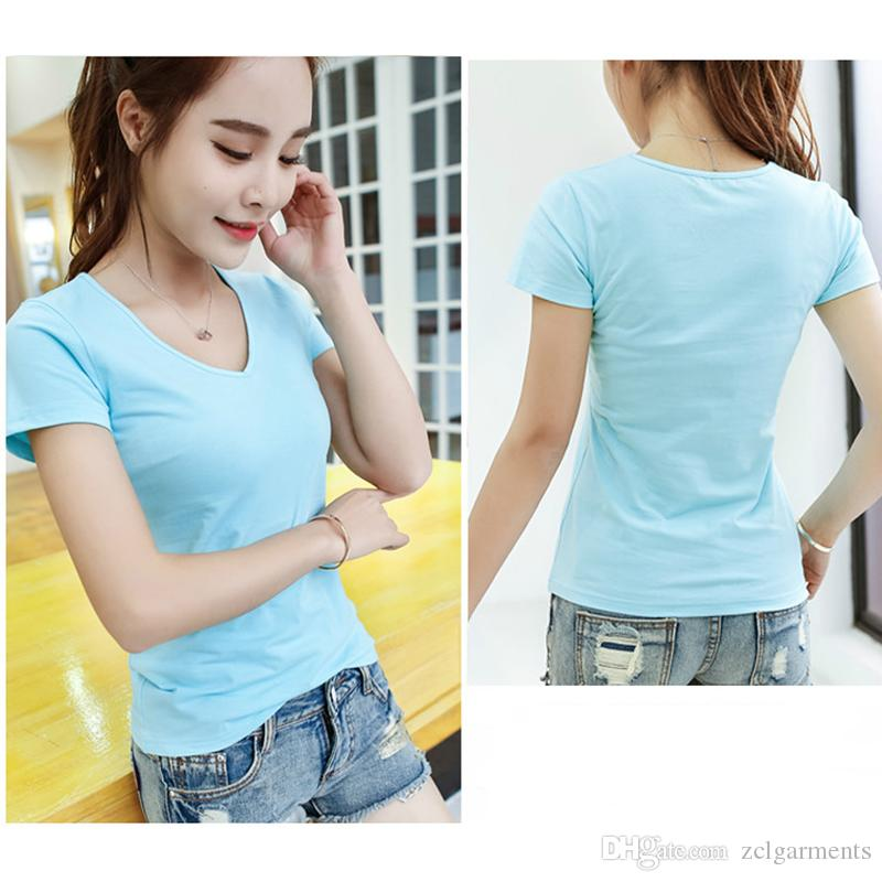 Fashion High Quality Summer T-shirt Women Tops V Neck White Cotton T Shirt Casual Tee Plus Size S-6XL