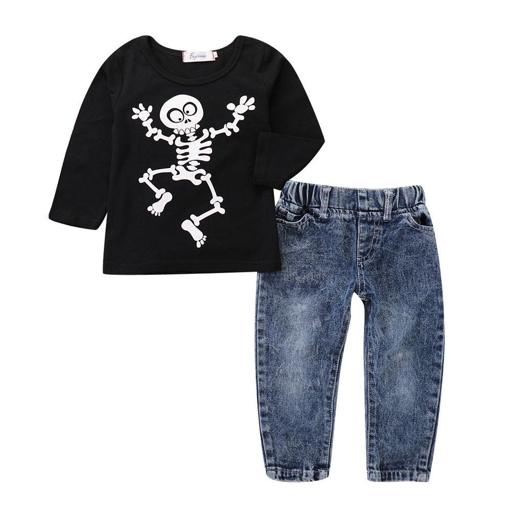 09961c40d9a75 Acheter Mikrdoo Enfant En Bas Âge Enfants Bébé Garçons Halloween Vêtements  Ensemble Noir Crâne Imprimer À Manches Longues Top Denim Pant Outfit De  $10.24 Du ...