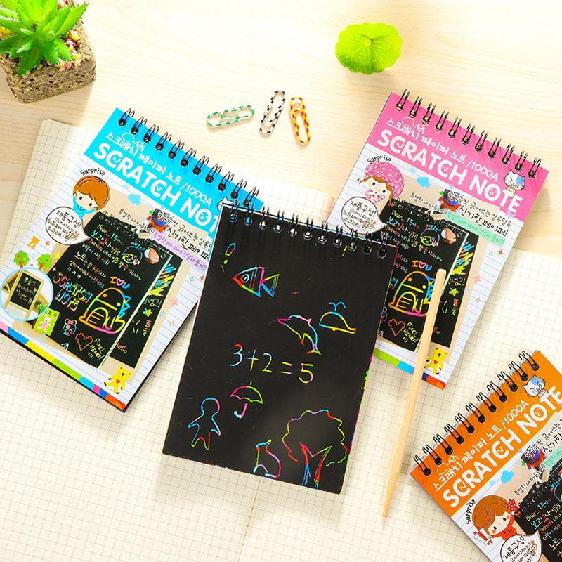 DIY Cute Kawaii Coil Graffiti Notebook Black Page Magic Drawing Book Painting Notepad for Kids Notepad Stationery Gift