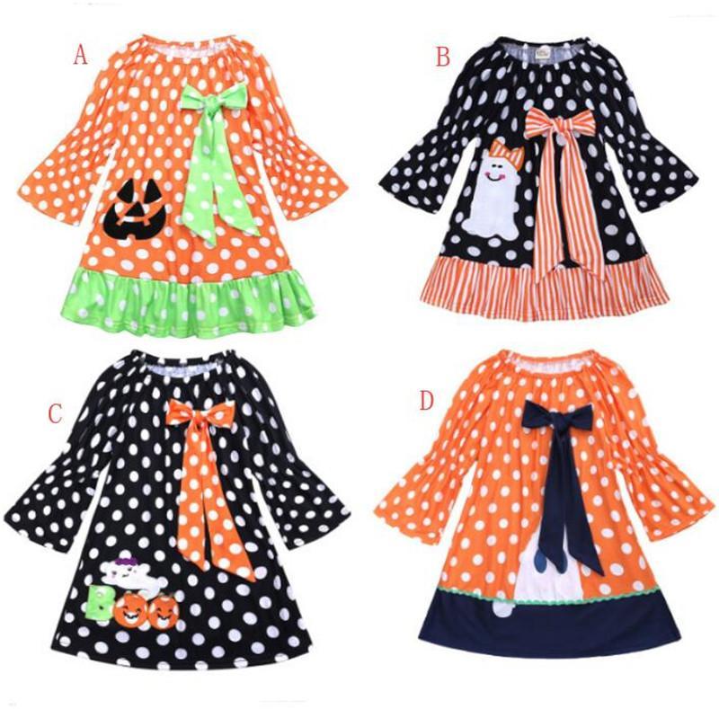 80176f6a5 2019 2018 Halloween Polka Dot Pumpkin Dresses Girls Long Sleeve ...