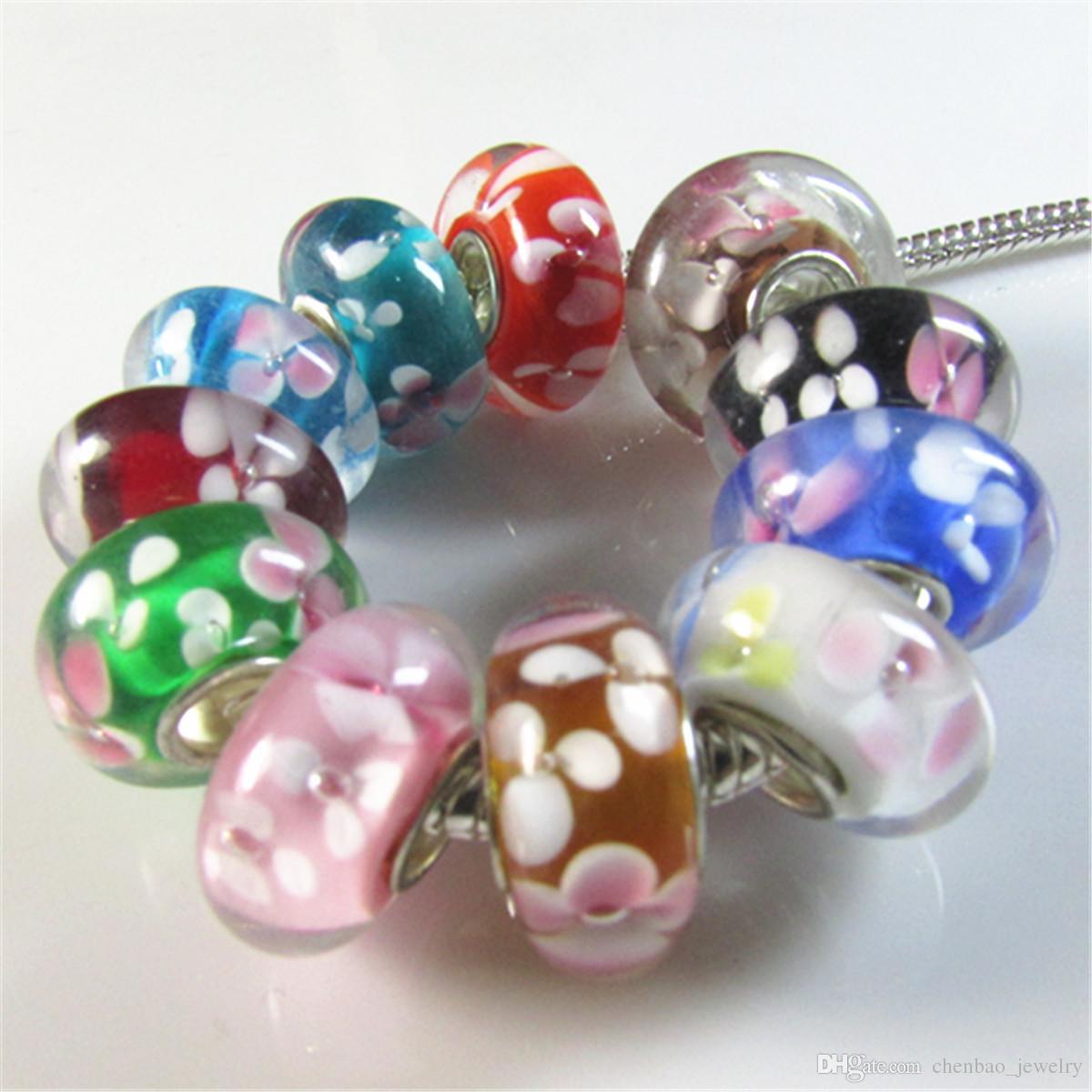 dd7e81635f237 30pcs/lot Murano Glass Charm Beautiful Flower Big Hole Charm Beads Fit  European Bracelet Slide Spacer Glass Bead