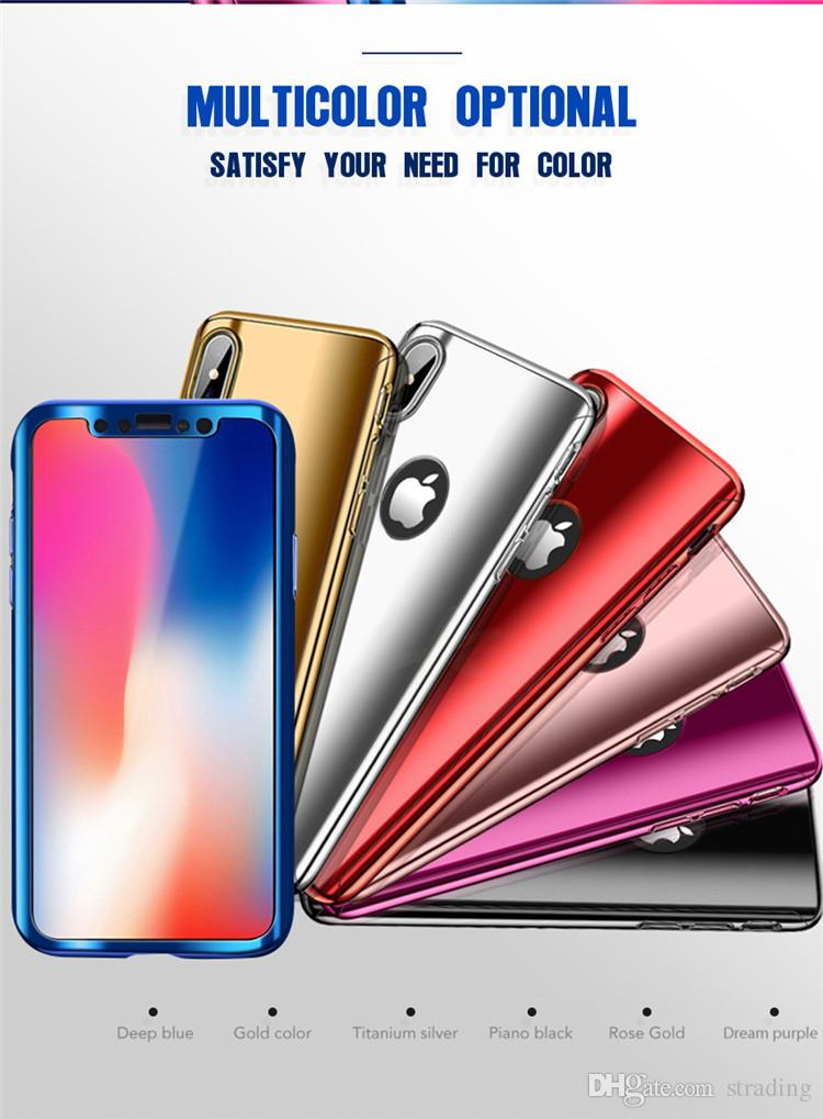 360 Degree Full body Electroplate Plating Mirror Hard PC Cell phone Case Cover with Tempered Glass Screen For iPhone X 8 7 6 6S Plus 5S SE
