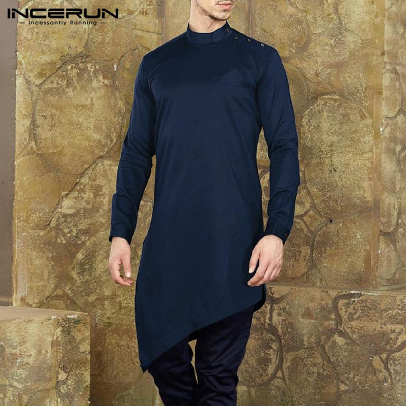 350f5cca0d Compre INCERUN Para Hombre Camisa Kurta Traje De Manga Larga Irregular Hem  Tops Musulmanes Islámicos Ropa Hombres Nepal Estilo Sólido Camisas Casuales  ...