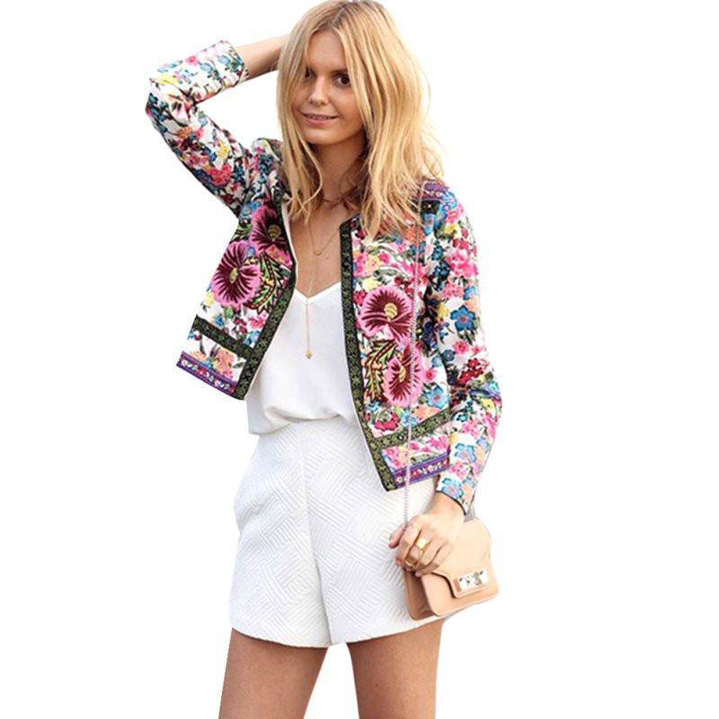 reputable site 8aee1 57f02 Floral Printed Casual Jacken Frauen Sommer Jacke Weibliche Langarm Mantel  Damen Patch Outfits für Frauen 2018 Neue Mode