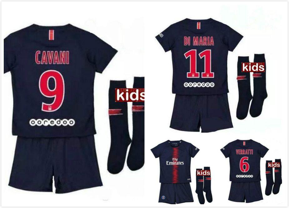 f52edc09a5aed 18 19 DI MARIA PASTORE Neymar Jr PsG Soccer Jerseys KIDS Kit 2018 ...