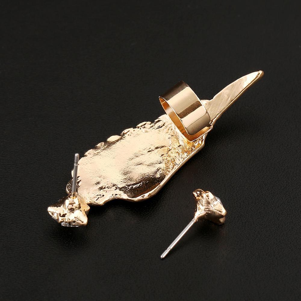 Crystal Five-pointed Star Studs Angel Wings Clip Earrings Left Right Ear cilp Gold Silver Ear Cuff Earring Jewelry FY95