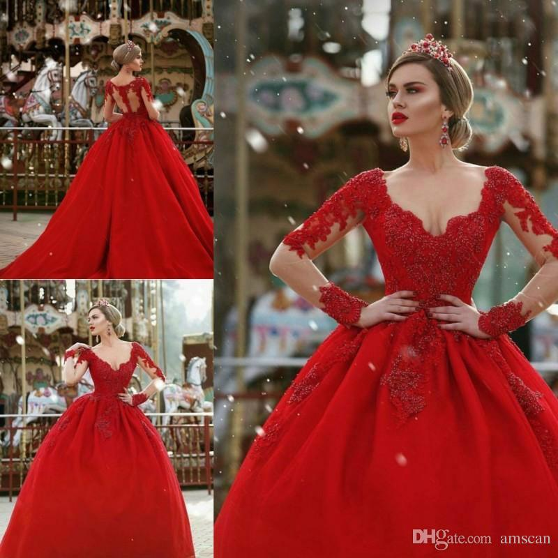 2019 Red Long Sleeves Ball Gown Evening Dresses Illusion Lace ...