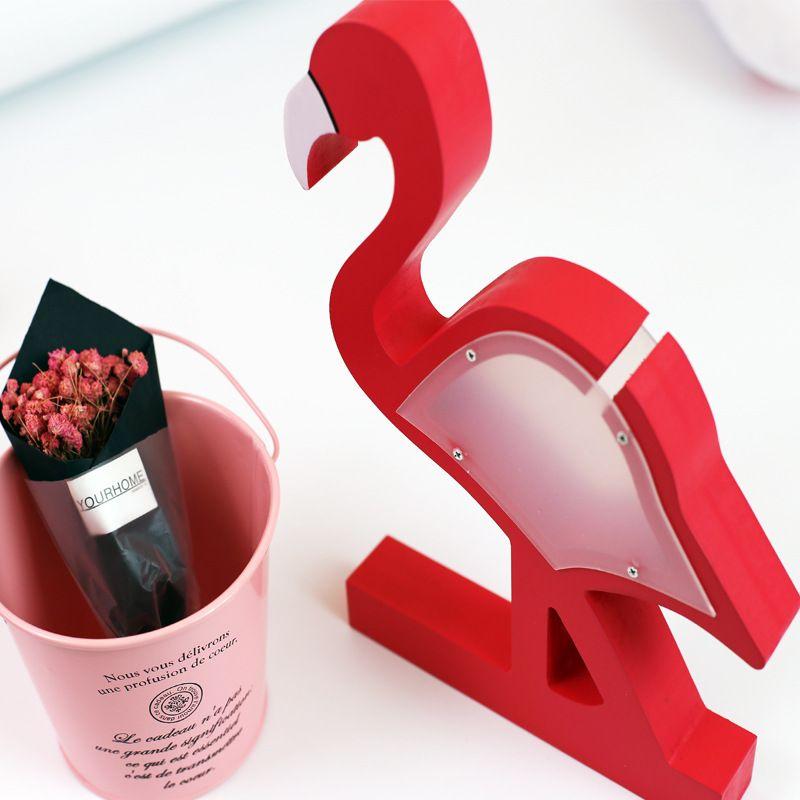 Flamingo de madera Piggy Bank Rojo Rosa Cajas de Dinero Niños Caja de Ahorro Transparente Niños Habitación Decoración Regalo de Cumpleaños