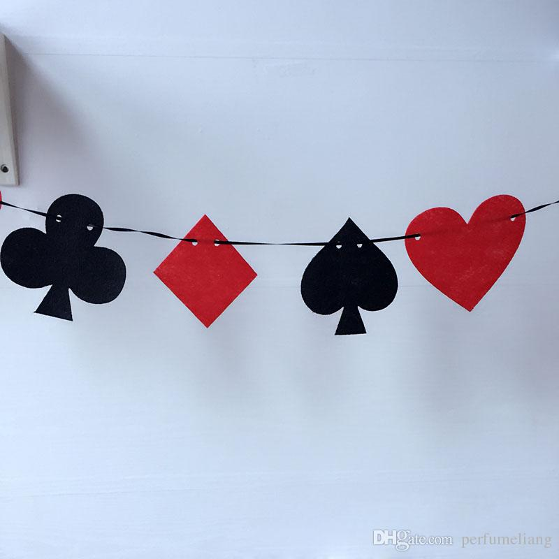 Casino Party Jeu Cartes Poker Pennant Bunting Drapeau Feutre Bannière Signe D'anniversaire Suspendu Décoration Livraison Gratuite ZA5649