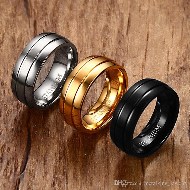 2018 Silver Black Gold Mens Wedding Bands Titanium Brushed Matte