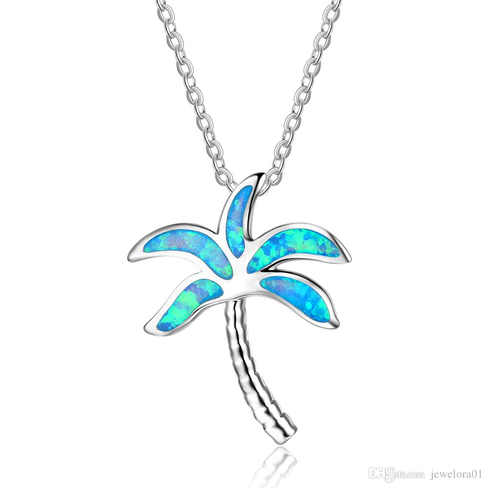 Wholesale fashion chain coconut tree blue opal pendants necklace wholesale fashion chain coconut tree blue opal pendants necklace with genuine 925 sterling silver women wedding jewelry letter pendant necklace number aloadofball Image collections