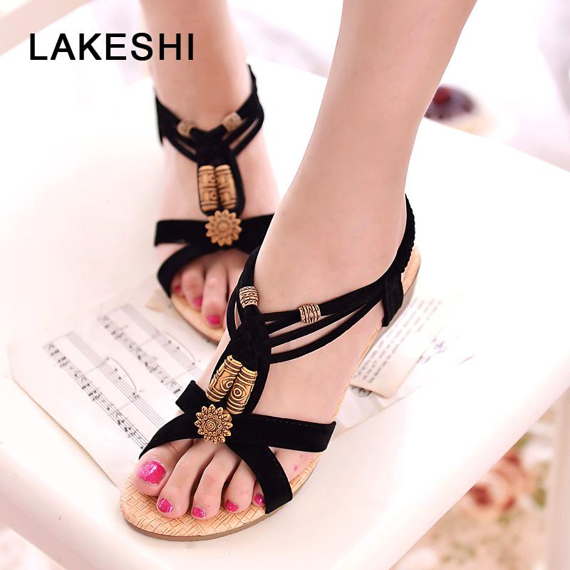 LAKESHI Summer Women Sandals Behomia Women Shoes String Bead Flat Sandals Wedge Shoes Retro Ladies Sandals