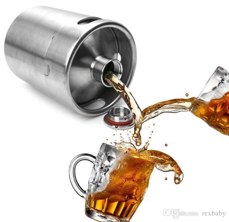 Aço inoxidável 2L / 64oz Mini barris de garrafa de cerveja barril de cerveja tampa de rosca de cerveja Growl Homebrew Wine Pot Barware para festa
