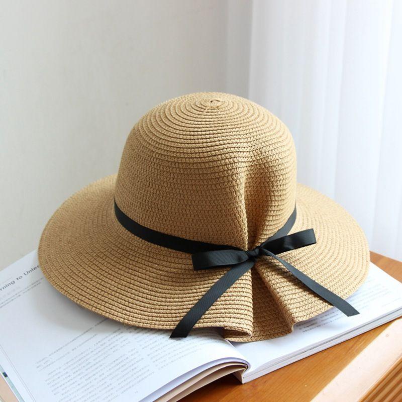 8982e764d92 2018 New Women s Straw Hat Fashion Elegant Chic Thin Bow Pleated Pot Cap  Folding Sun Hats Big Brim Women s Hat Sun Hat Big Brim Straw Hat Online  with ...