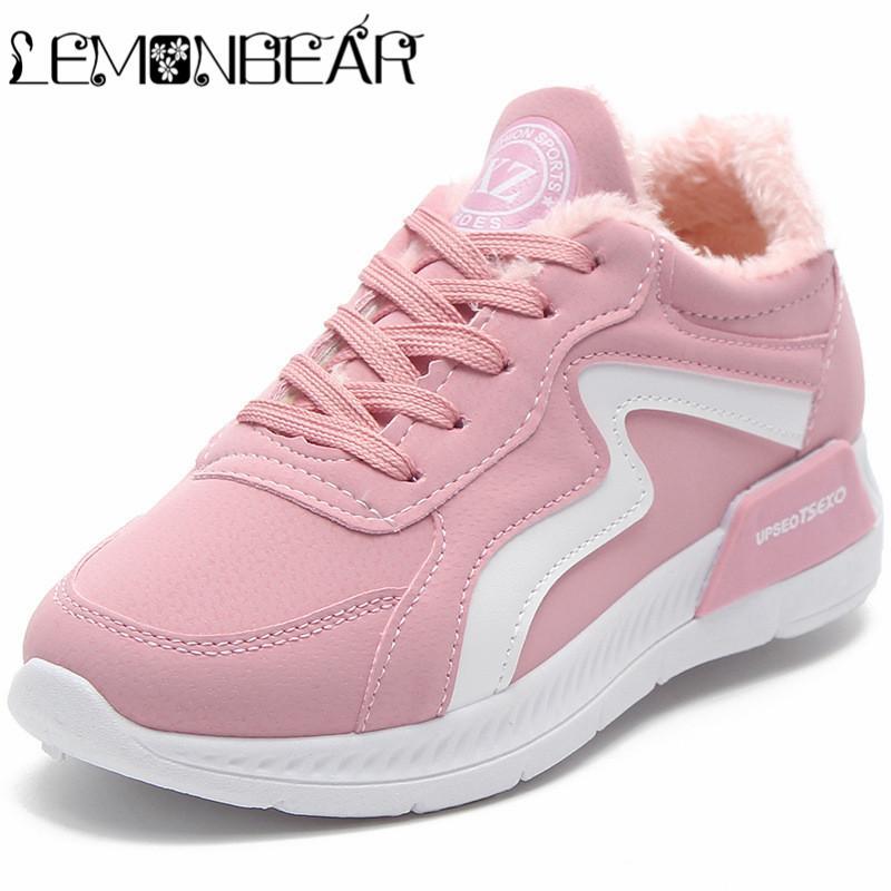 39fb58c81 Compre Mulheres Sapatos De Inverno Moda Feminina Sapato Casuais Plataforma  De Pelúcia Apartamentos Quentes Mulher Sapatos Casuais Sapatilhas Das  Senhoras ...