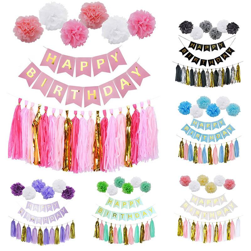 Birthday Decor Gold Tissue Paper Tassels Pompoms Boy Girl Happy Banner Baby Shower Kids Favors Party Supplies Theme Themed