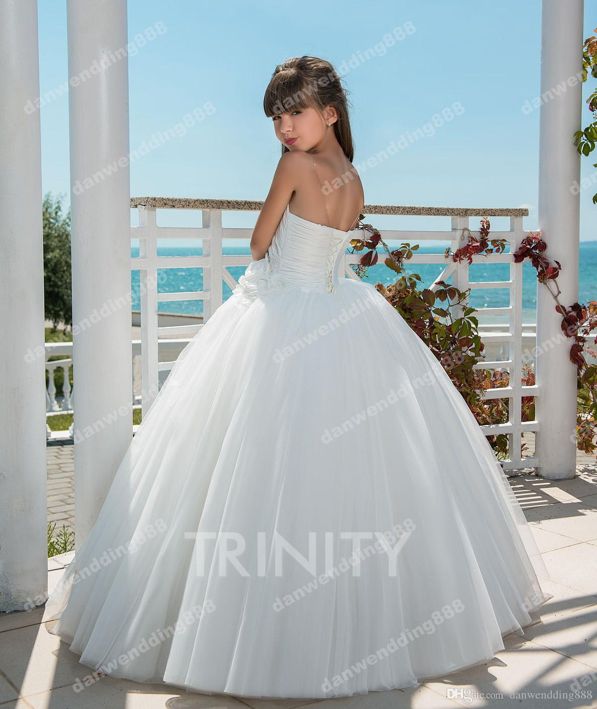 Elegant Beach White Tulle Strapless Flower Girl Dresses Princess Dresses Girl's Pageant Dresses Custom Made Size 2-6 8 10 12 14 KF404355