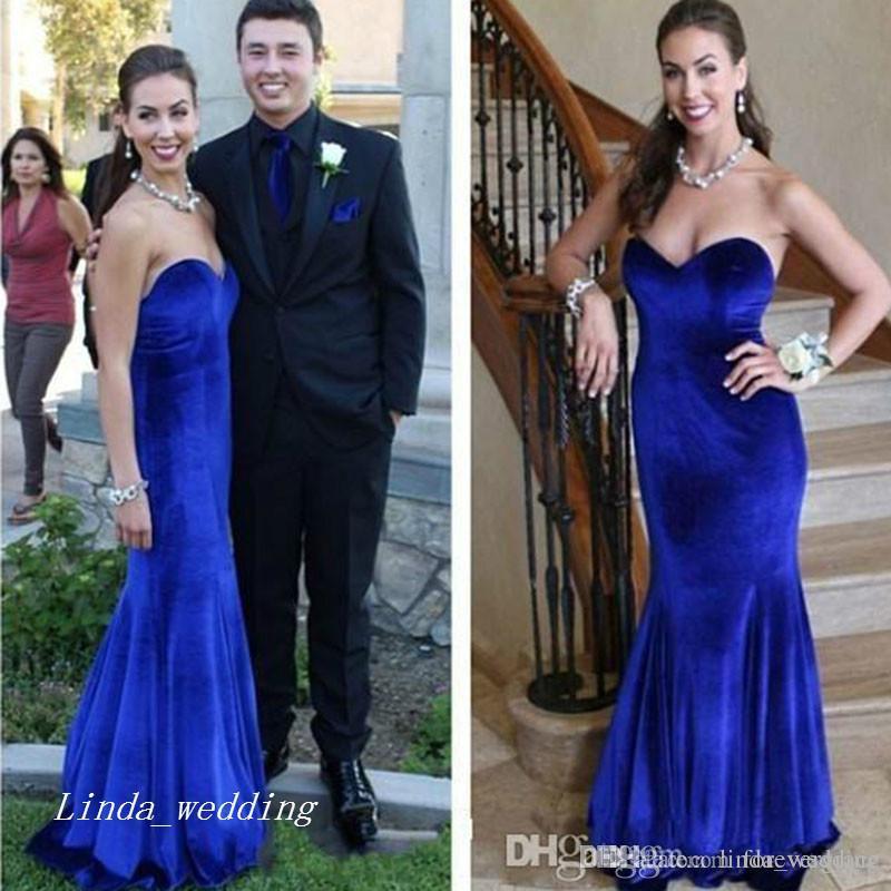 2017 Royal Blue Velvet Prom Dress High Quality Sweetheart Fitted