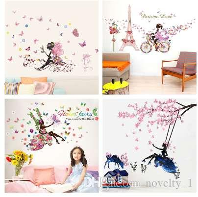Butterfly Flower Fairy Wall Stickers For Kids Rooms Bedroom Decor Diy Cartoon Wall Decals Mural Art Pvc Posters Children S Gift
