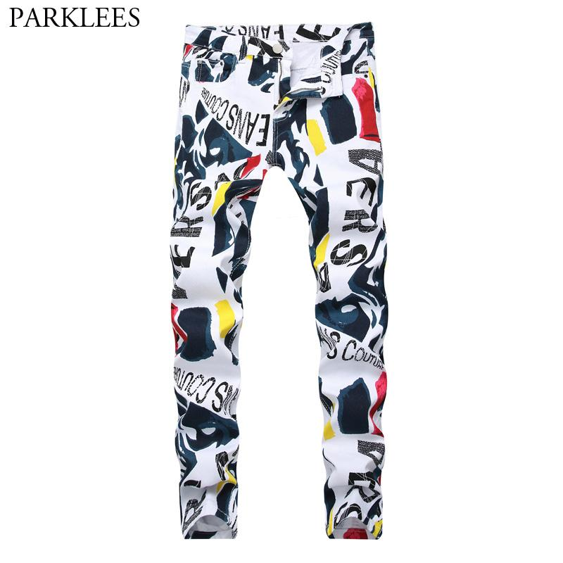 97b42b4bfb 2019 2018 New 3D Printed Cotton White Jeans Men Slim Fit Casual Denim  Trousers Male Hip Hop Hi Street Stretch Straight Jeans Homme 42 From  Odelettu, ...