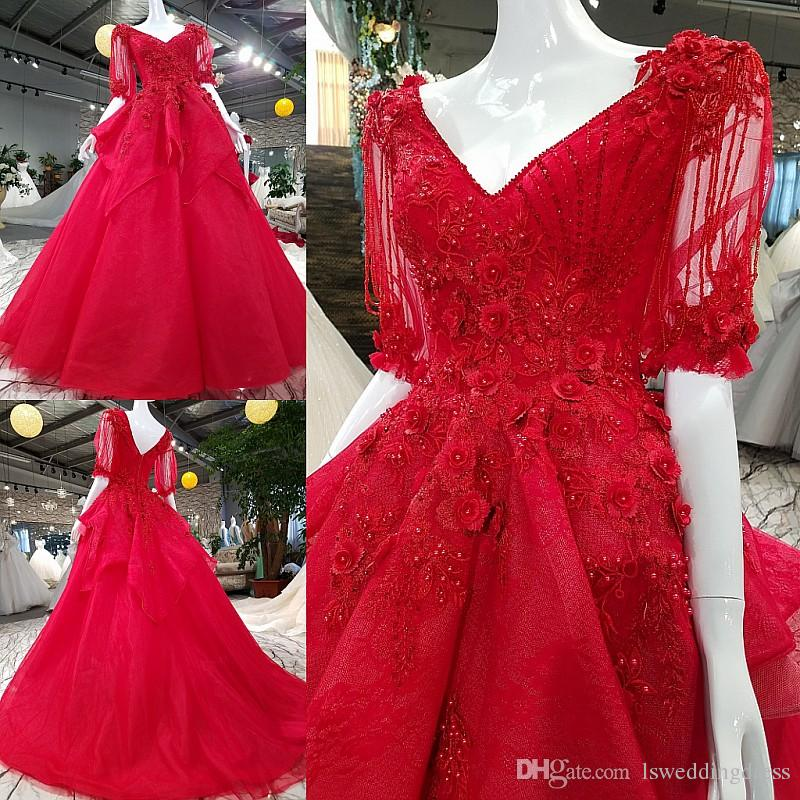 3271c3ce2f03 2019 Red Sweet Lace-Up Quinceanera Dresses Vestido Fiesta Mujer Elegante  Largo Luxury Beautiful Generous Lace Flowers Red Prom Dress Abiye