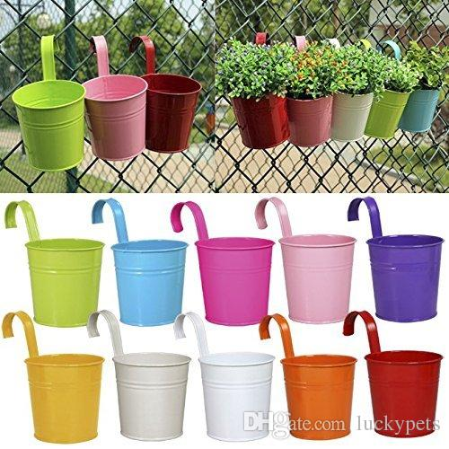 2019 Metal Bucket Flower Hanging Pot Balcony Garden Pots Plant