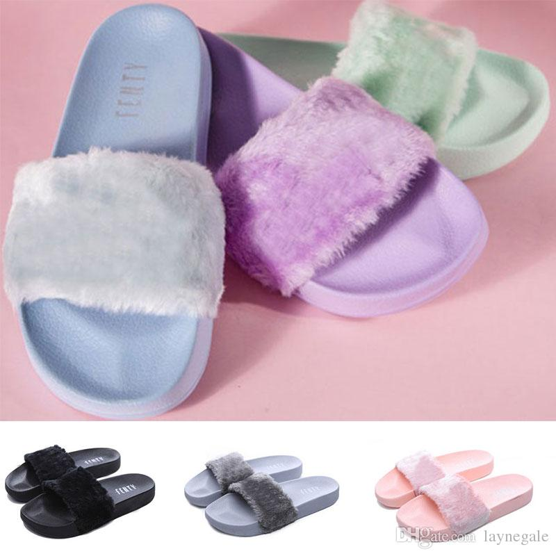 8154ebf40eb 2018 Leadcat Fenty Rihanna Faux Fur Slippers Women Girls Sandals Fashion  Scuffs Black Pink Grey Blue Slides Best Quality With Box Cheap Shoes 4e  Basketball ...