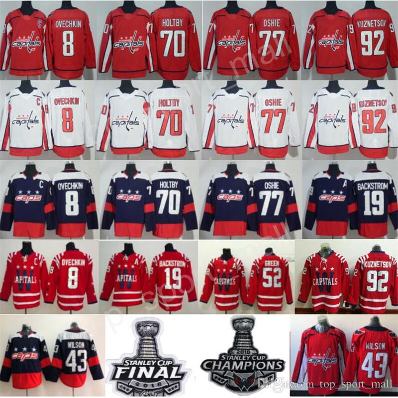 buy popular e3fcb 92e7a 2018 Stanley Cup Final Champions Patch Hockey Washington Capitals 8 Alex  Ovechkin 19 Nicklas Backstrom Jerseys TJ Oshie 92 Evgeny Kuznetsov
