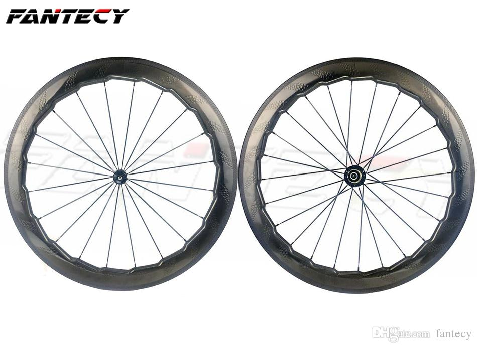 ac981f74e NSW 454 700C 58mm depth road bike 25mm width clincher dimple surface carbon  wheels with Novatec271 372 wavy crow s feet wheelset