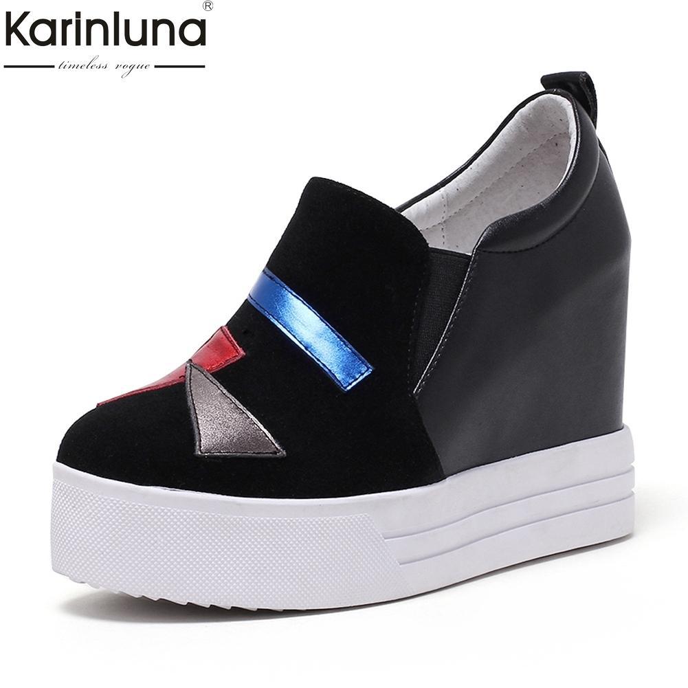 cb6f4188 Compre KarinLuna 2019 A Estrenar Gran Tamaño 31 40 Zapatos De Mujer De Cuero  Genuino Aumento De Los Tacones Altos Plataforma Zapatilla De Deporte  Vulcanizar ...