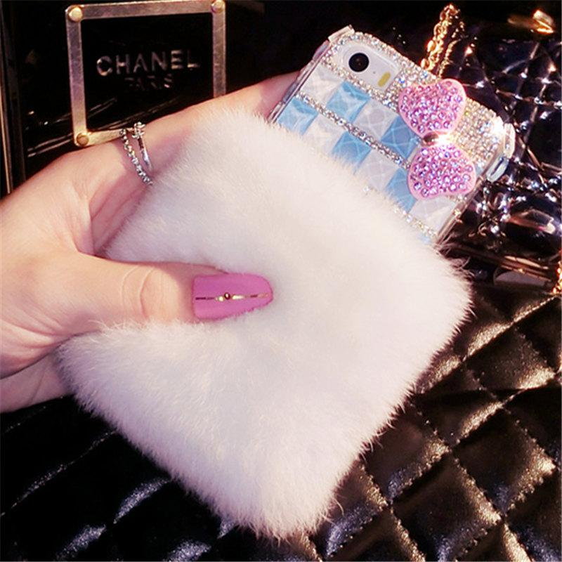 Luxury fox head Bling Warm Soft Beaver Rabbit Fur Hair phone cases For Samsung S5 S6 S7 edge S8 S9 Plus Note5 8 protective phone