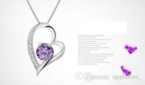Nouveau cristal autrichien Diamant Amour Coeur Pendentif Déclaration Collier Mode Femmes Filles Lady Swarovski Elements colliers Bijoux