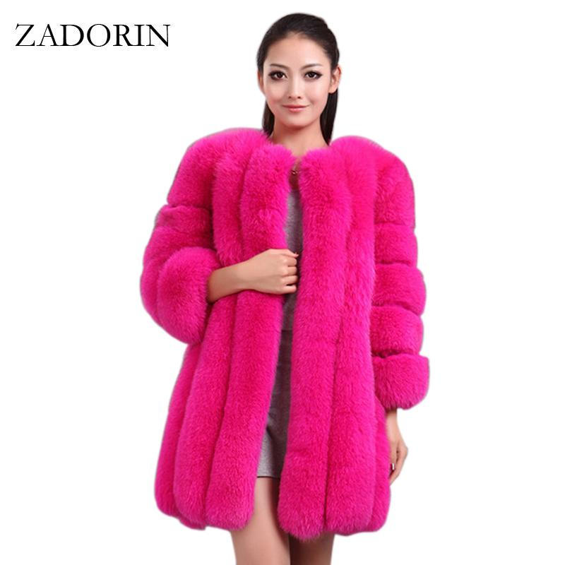 be2c2558321 ZADORIN S-4XL Winter Luxury Faux Fox Fur Coat Slim Long Pink Red Blue Faux  Fur Jacket Women Fake Coats Manteau Fourrure Manteau Fourrure Faux Fox Fur  Coat ...