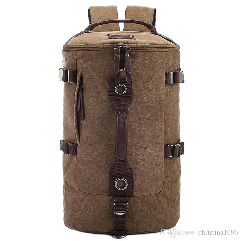 471306888 Men Canvas Backpacks Outdoors Bags Multi Function Cylinder Male And Female  Backpack Laptop Bags Shoulder Crossbody School Bag Student Bag Small  Backpack ...