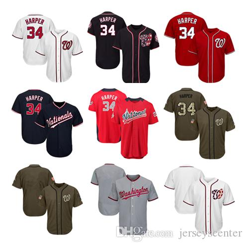 brand new cfb25 08e87 Men Women Youth Nationals Jerseys 34 Harper Baseball Jersey White Gray Grey  Red Navy Blue Green Salute to Service Players Weekend All Star
