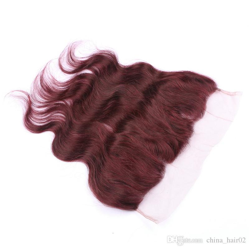 # 99J vino rosso malese dell'onda del corpo umano Bundle offerte con Frontals Borgogna 13x4 Full Lace frontale chiusura con tesse