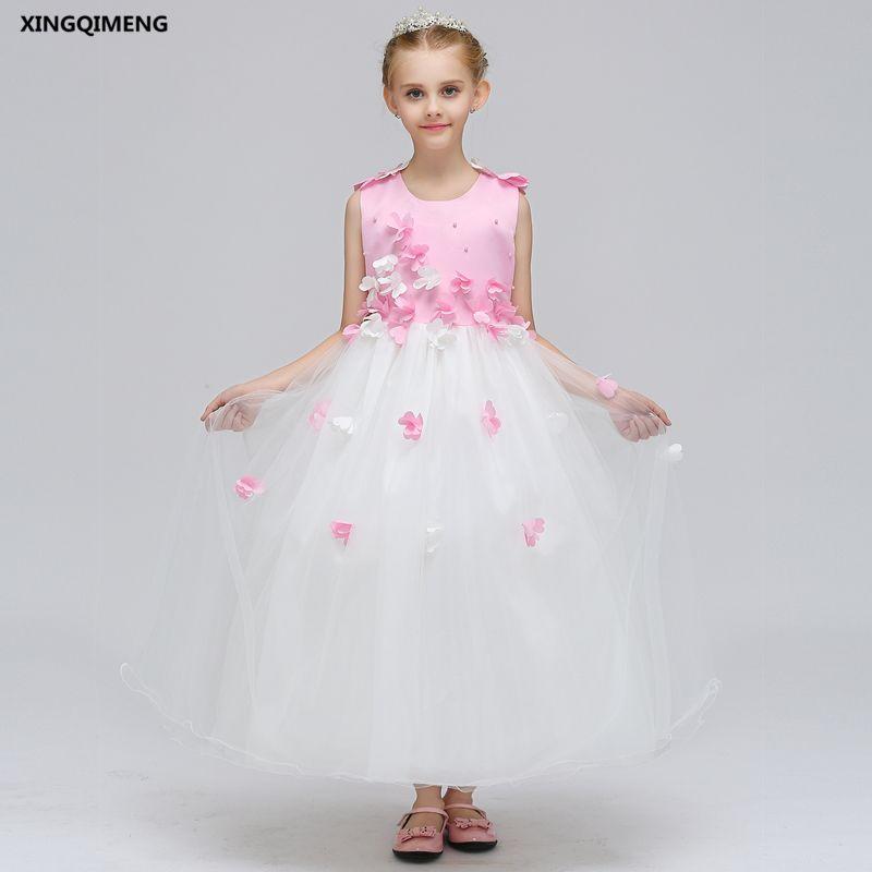 a6d719263 In Stock Long Pink Beaded Flower Girl Dress For Weddings 3 12Y ...