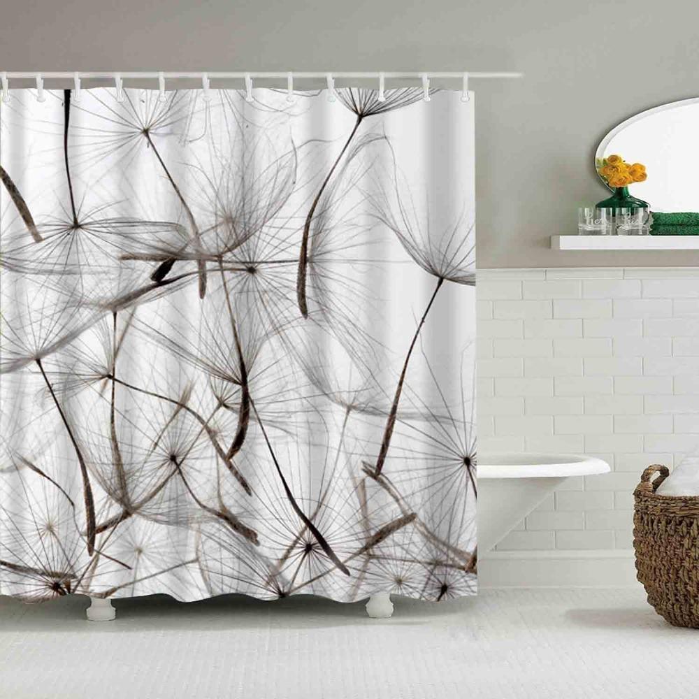 Luxe Smart Pissenlit Fleur Rideau De Douche Impermeable Mildewproof Polyester Tissu Rideaux De Bain Salle De Bains Produit