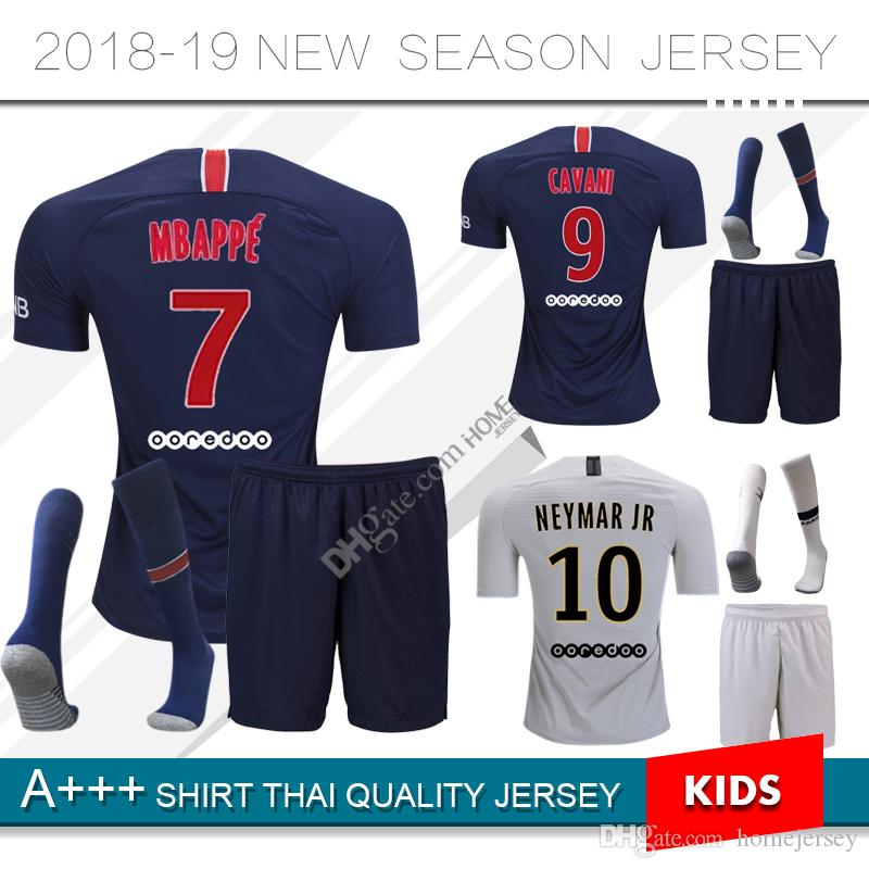 1009e4df73b 2018 2019 Paris Soccer Jersey 18 19 Mbappe CAVANI PSG Kids Kit Home ...
