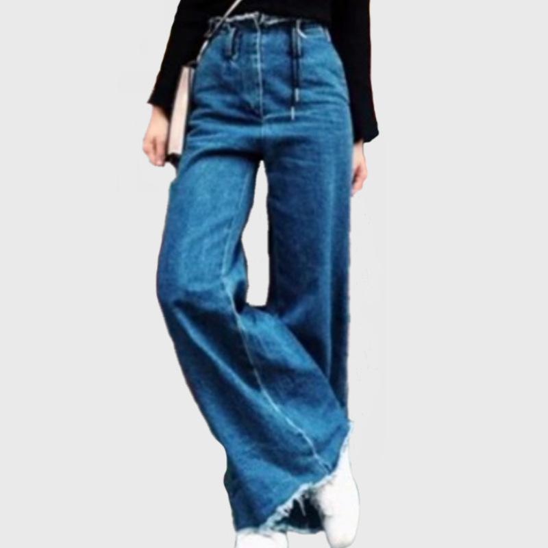 c8b09490e3c6 Acquista Jeans Da Donna Casual A Vita Alta Jeans A Campana Svasata Jeans A  Zampa D'elefante A Gamba Larga In Denim Con Patch A Gamba Larga A $39.89  Dal ...