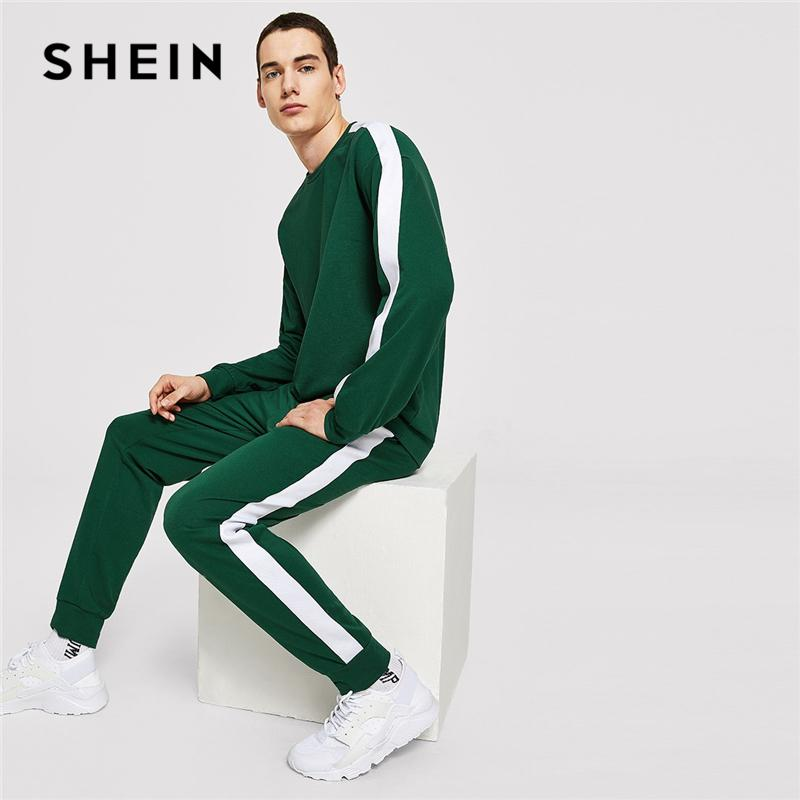 ebe9aa1469 SHEIN Men Green Casual Tape Long Sleeve Pullover And Drawstring ...