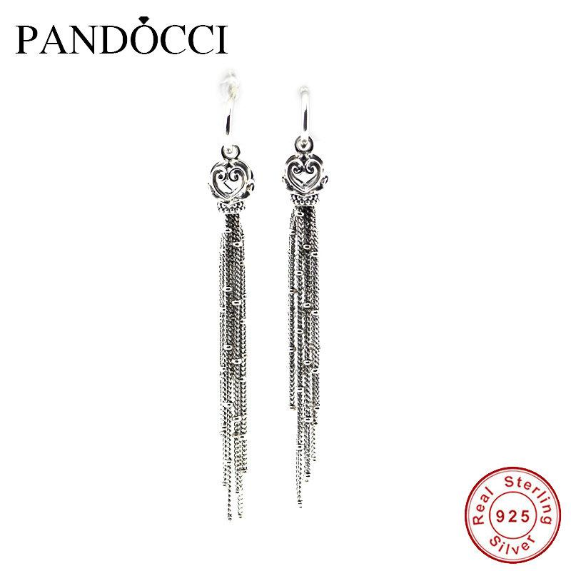 2018 NEW Spring 925 Sterling Silver Enchanted Tassels Earrings European Style Jewelry For Women Fashion Charms PANDOCCI