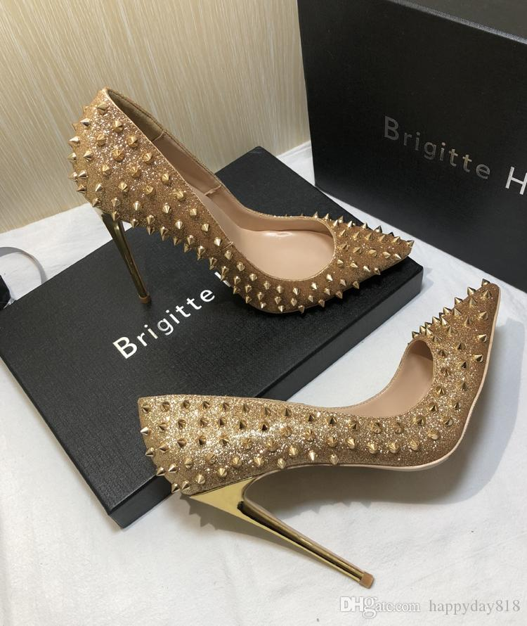 Fee Women Pumps Gold Glitter Pointed Toe Spikes Rivets High Heels Bride Wedding  Shoes Pumps Real Photo 120mm 100mm Navy Shoes Driving Shoes From  Happyday818 ... a4f92b146281