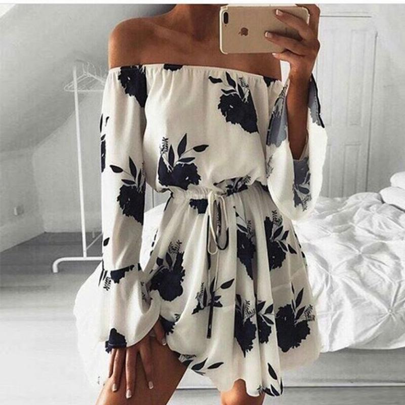 fa31405f33e One Shoulder Sexy Reveal Back Printing Maxi Mini Club Dress Long Sleeves  Promotion Clothing Ladies Dresses Models Woman Women Clothes White Casual  White ...