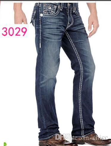 Pantalon coupe droite 18SS New True Elastic jeans Homme Jeans Robin Rock Revival Crystal Studs Denim Pants Designer Pantalons