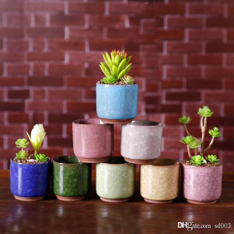 Exquisite Flower Pots Succulent Garden Plants Pot Small Little Thumb Desk Office Flowerpots Ceramic Ice Crack Pattern 3 Ty Iikk