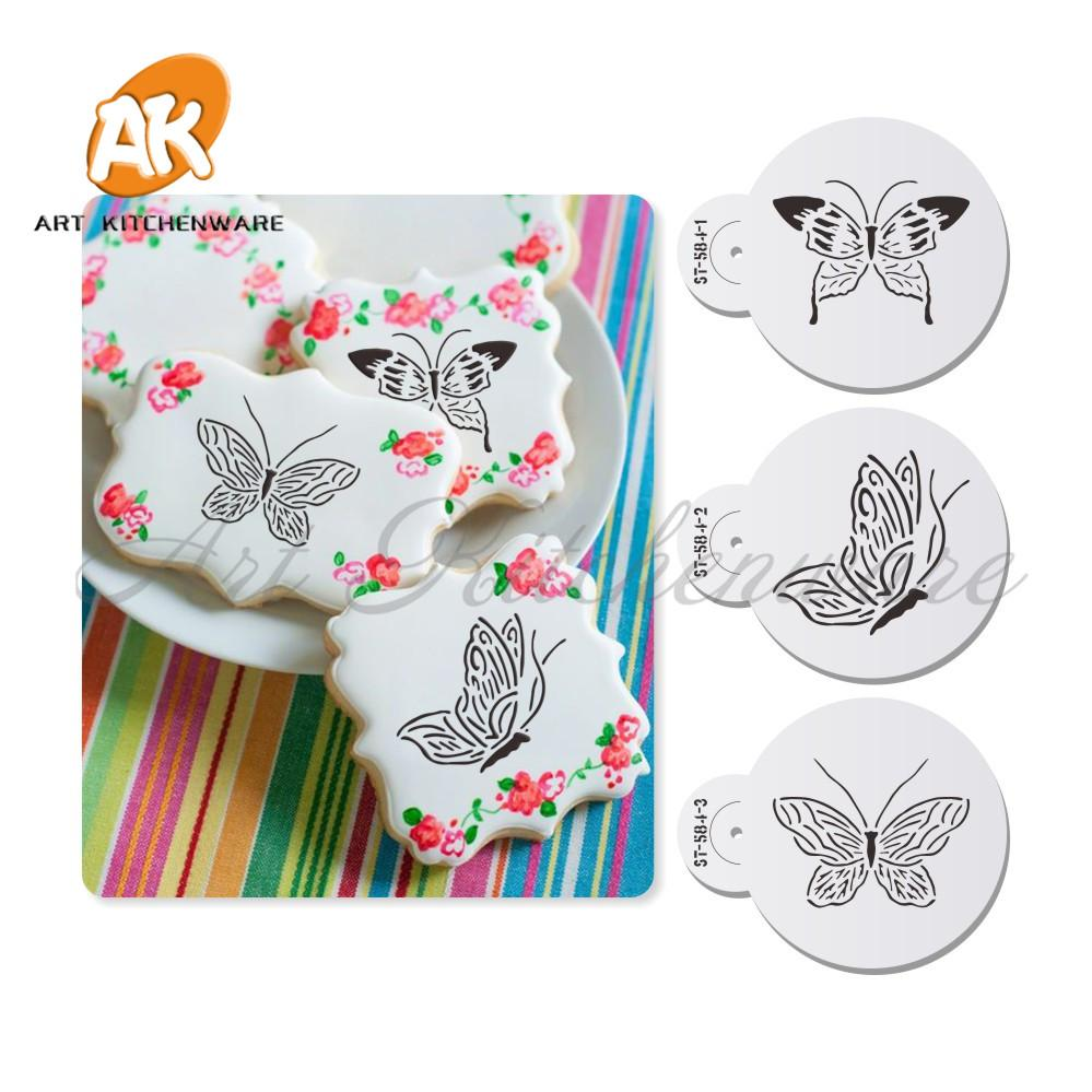Small Butterfly Tops 2 Cupcake Stencil 3D Fondant Cake Mold Fondant Decorating Styling Baking Tools Bakeware