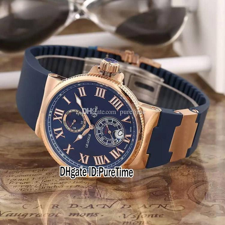 New Marine Maxi 263-67-3 / 43 Stahlgehäuse blaues Zifferblatt Datum Gangreserve automatische Herrenuhr blaues Kautschukband Sportuhren 8 Farben UN87